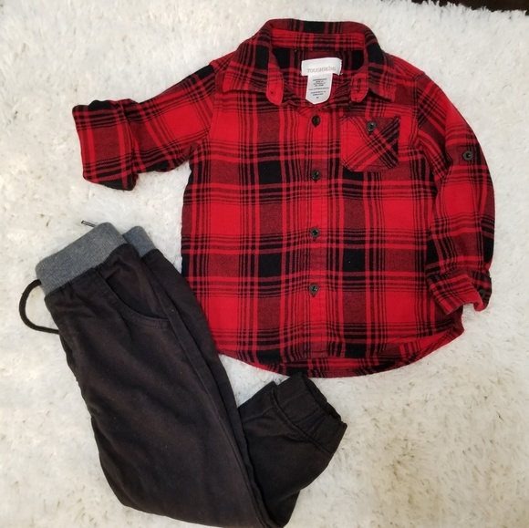 14eeac3e2 Toughskins Matching Sets | Toddler Boy Buffalo Plaid And Jogger Pant ...